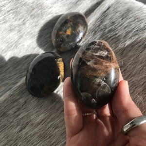 Black moonstone Palm Stone