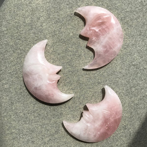 Large Rose Quartz Moon Face Carving