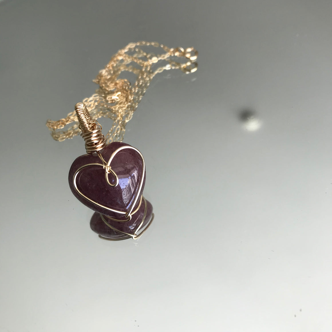 Strawberry Quartz Wired Heart Shaped necklace