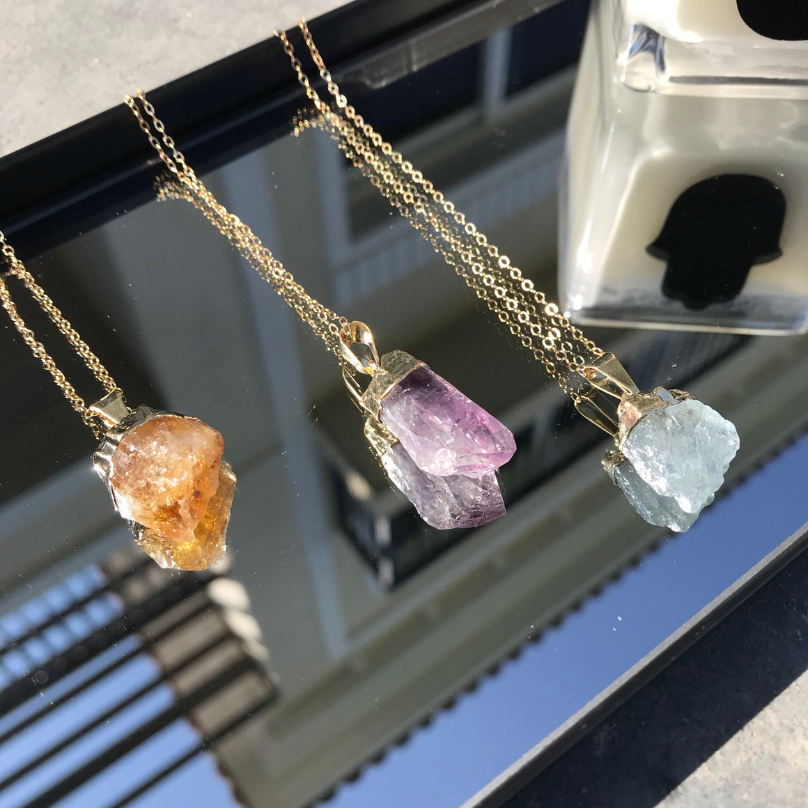 Raw point amethyst necklace