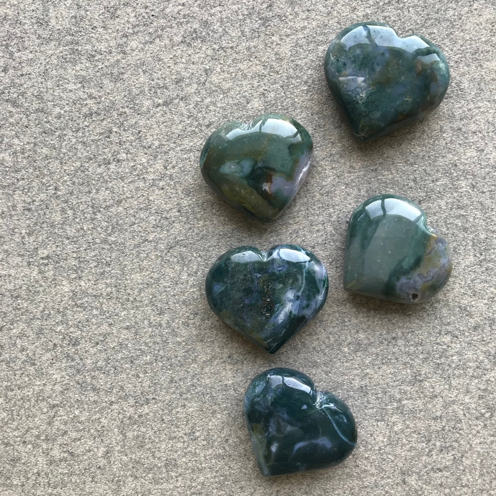 Moss Agate Hearts