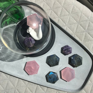 Rose Quartz Hexagon Compass