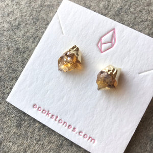 Raw point stud earrings