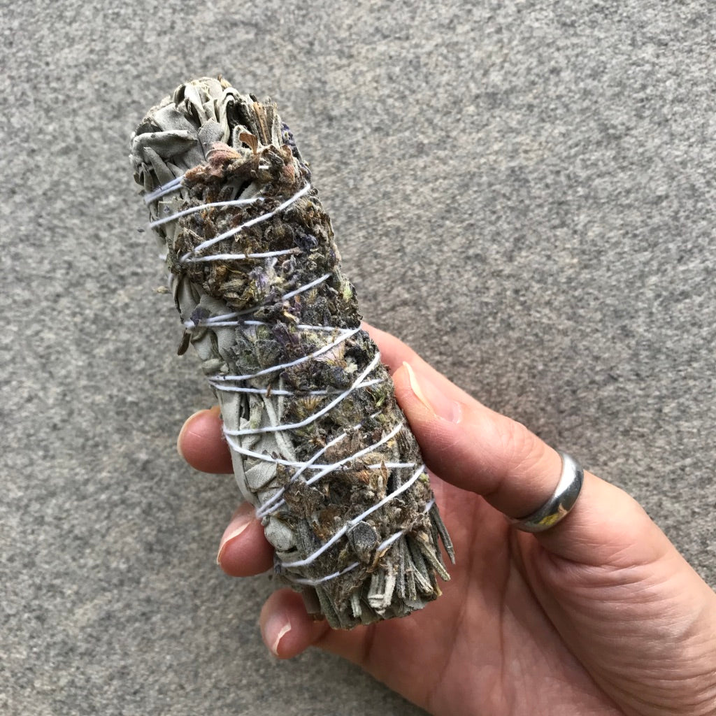 Sustainably harvested White Sage + Lavender Smudge Stick