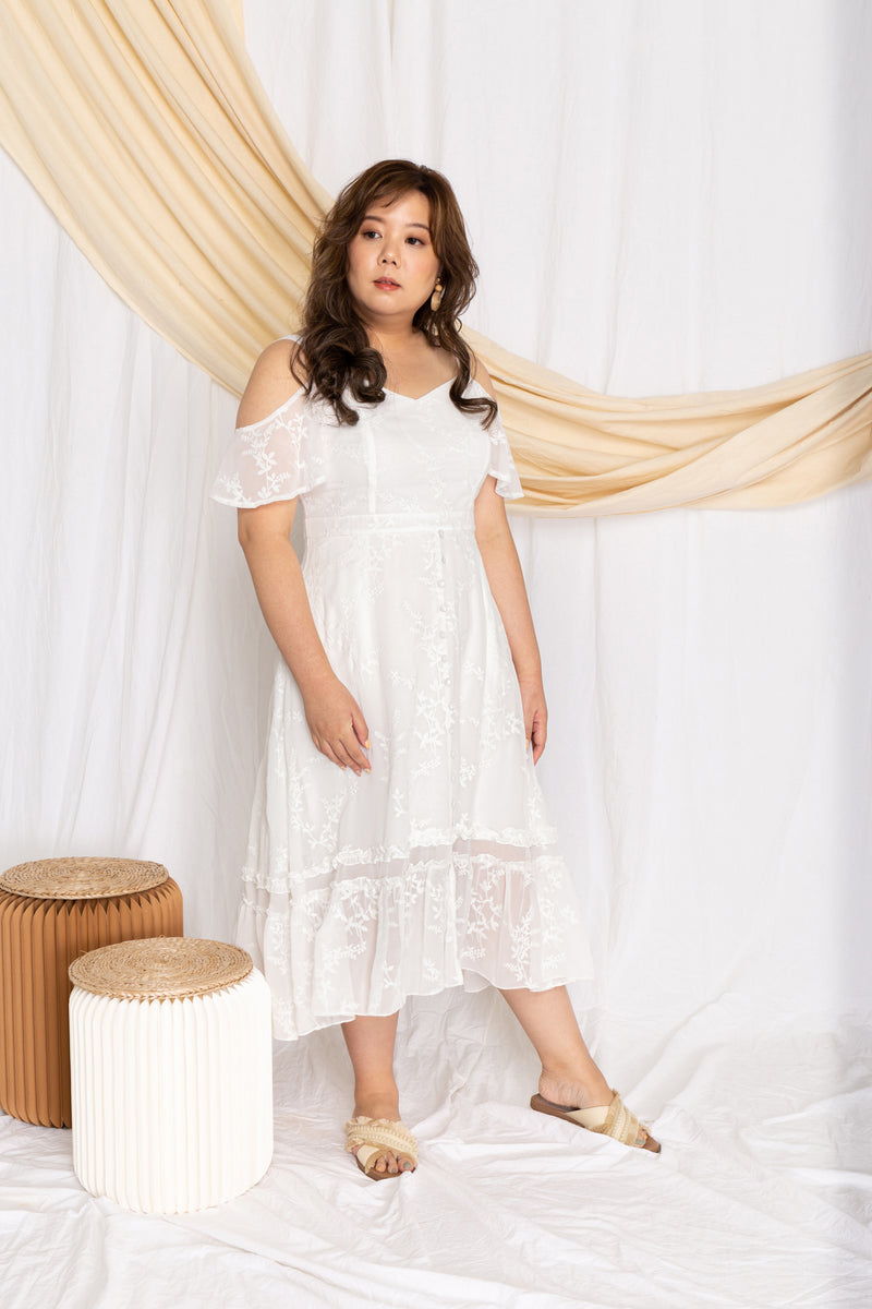 Embroidery Floral Midi Dress (White), Dress - 1214 Alley