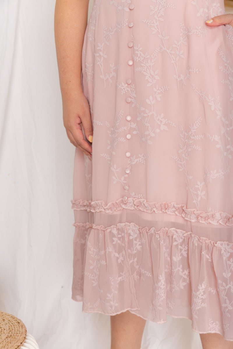 Embroidery Floral Midi Dress (Nude Blush)