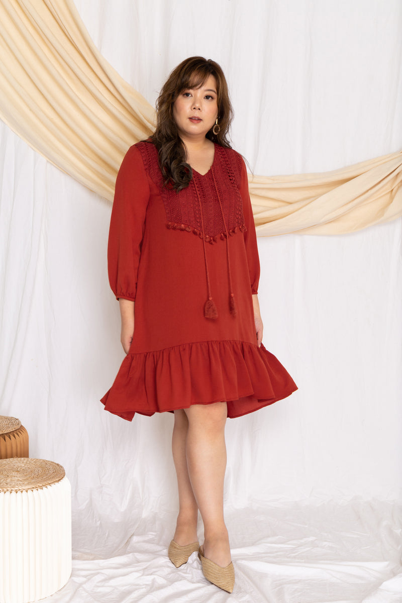 Crochet-Tassels Textured Dress (Burnt Orange), Dress - 1214 Alley