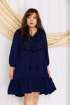 Crochet-Tassels Textured Dress (Navy), Dress - 1214 Alley