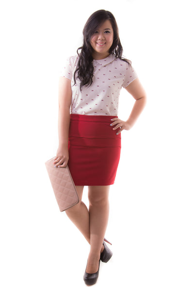 Anya Scallop Skirt (Red), Skirt, 1214 Alley
