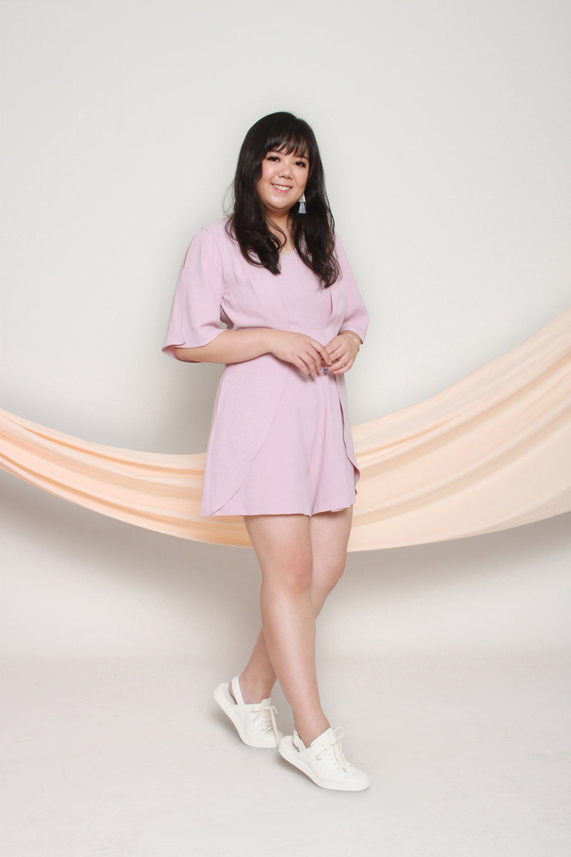 Slit Sleeves Romper (Blush), One-Piece - 1214 Alley