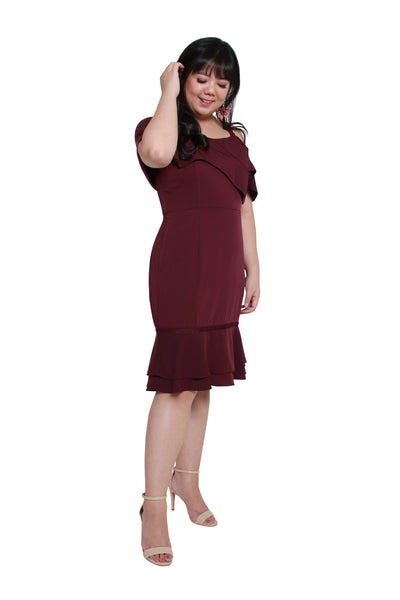 *Exclusive* Victoria Flute Hem Dress (Lush Wine), Dress, 1214 Alley