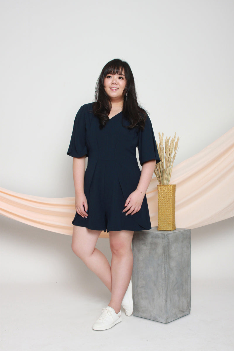 Slit Sleeves Romper (Navy), One-Piece - 1214 Alley