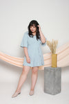 Slit Sleeves Romper (Pastel Blue), One-Piece - 1214 Alley