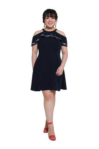 *DESIGN by 1214 ALLEY*  Cold Shoulder Embroidery Dress (Navy Blue), Dress, 1214 Alley