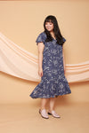 Asymmetrical Frills Midi Dress (Blue), Dress - 1214 Alley