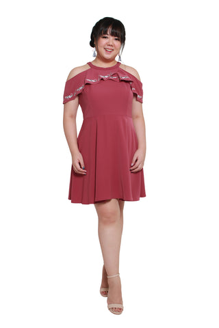 *DESIGN by 1214 ALLEY*  Cold Shoulder Embroidery Dress (Mauve Blush)