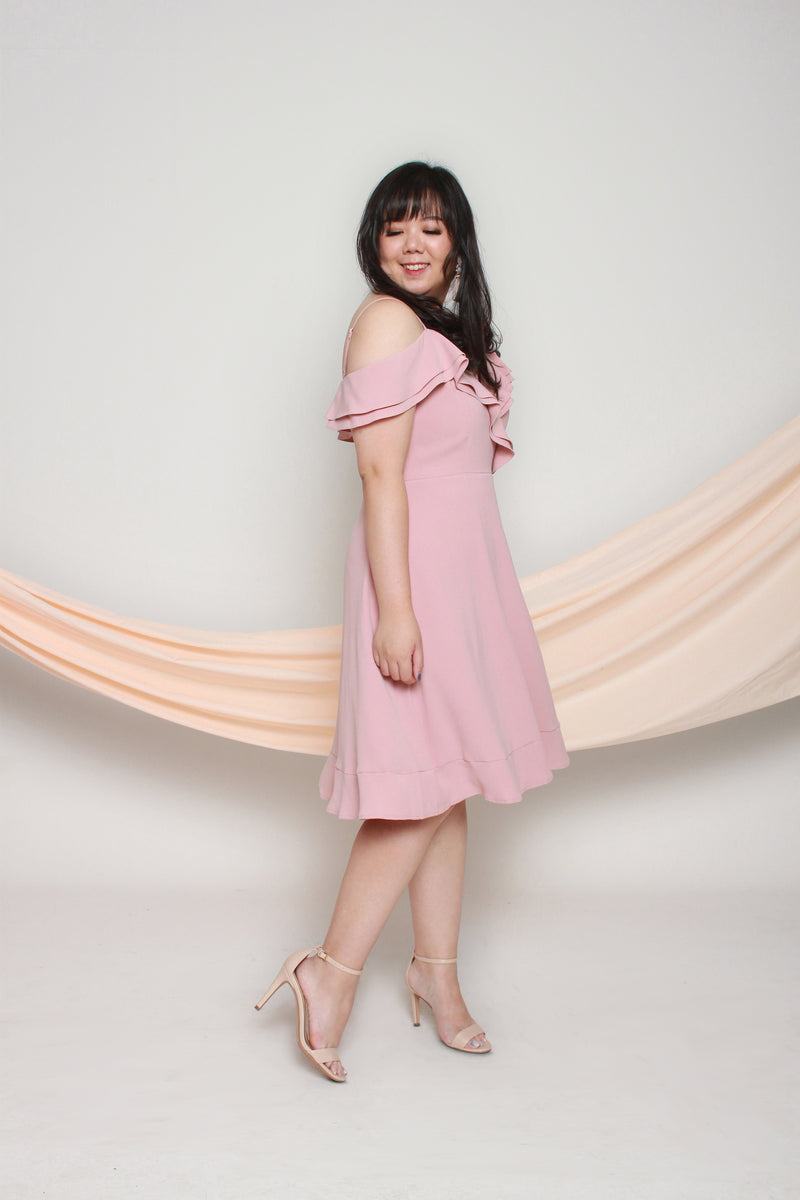 Cold Shoulder Frills Dress (Blush), Dress - 1214 Alley