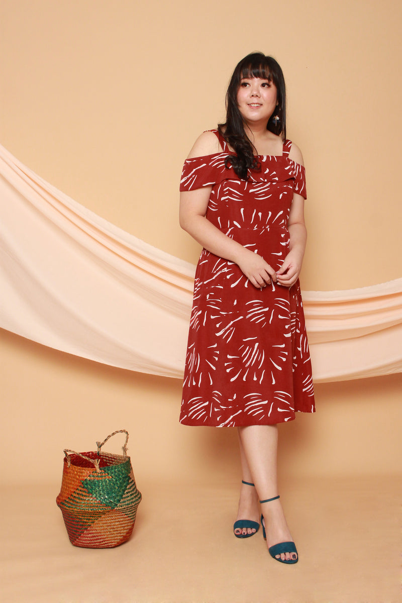 Emily Cold Shoulder Midi Dress (Burnt Orange), Dress - 1214 Alley