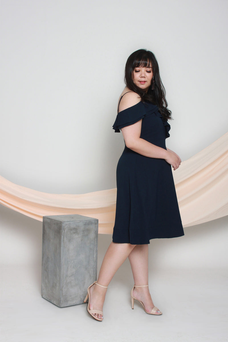 Cold Shoulder Frills Dress (Navy), Dress - 1214 Alley