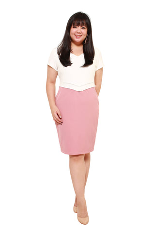 *Exclusive* V-Empire Shift Dress (White/Blush)