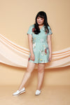 Floral Button Front Romper (Mint), One-Piece - 1214 Alley