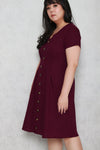 Tortoise Shell Button Dress (Dark Plum)