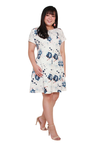 *Exclusive* Coretta Skater Dress (White Florals)