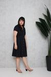 Tortoise Shell Button Dress (Navy)