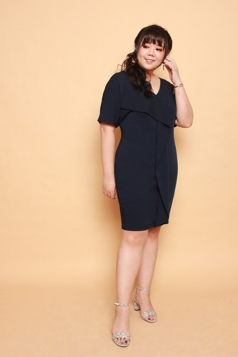 Waves Shift Dress (Navy)