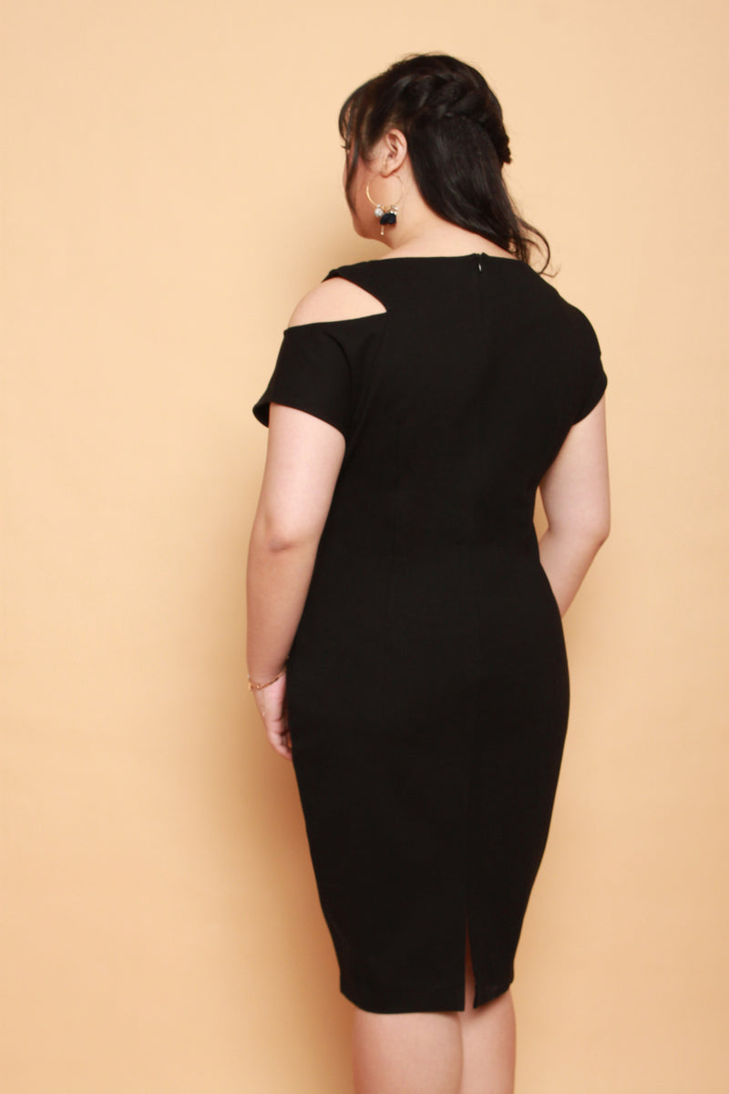 Keyhole Shoulder Dress (Black), Dress - 1214 Alley