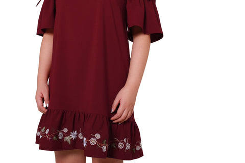 *DESIGN by 1214 ALLEY* Gille Embroidery Hem Dress (Spring Maple)