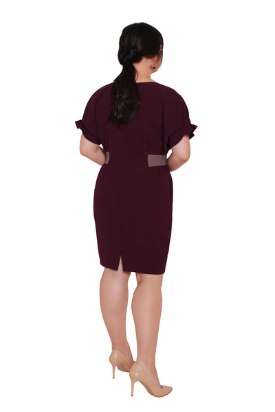 *Exclusive* Contrast Waistband Shift Dress (Lush Wine), Dress, 1214 Alley