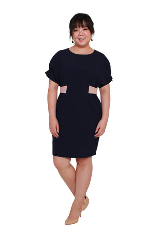*Exclusive* Contrast Waistband Shift Dress (Navy Blue)