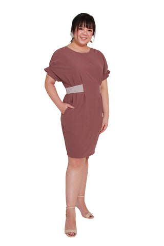 *Exclusive* Contrast Waistband Shift Dress (Mauve Blush)