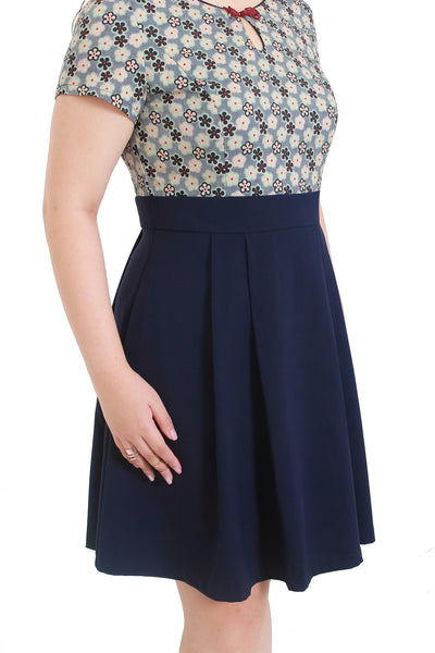 *Exclusive* Keyhole Knot Cheongsam Dress (Navy Blue), Dress - 1214 Alley