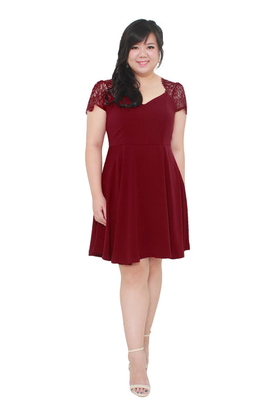 *Exclusive* Lace Sleeves Swirl Dress (Red Wine), Dress - 1214 Alley