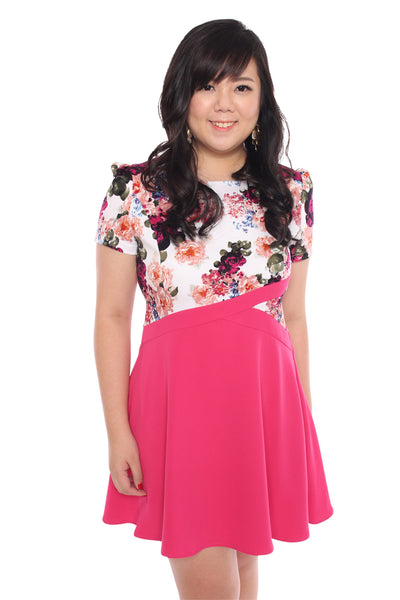(Exclusive) Prints Overlay Skater Dress (Fuchsia Blossoms), Dress, 1214 Alley
