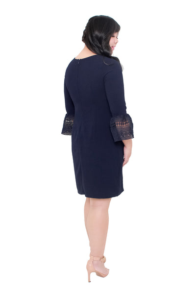 *Exclusive* Trumpet Sleeves Dress (Navy Blue), Dress, 1214 Alley