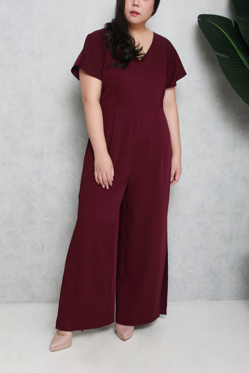 Side Slit Jumpsuit (Dark Plum)