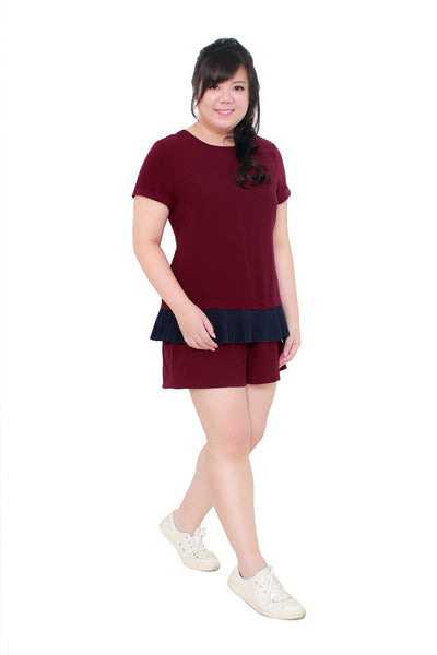 *Exclusive* Pleated Romper (Red Wine), Dress - 1214 Alley