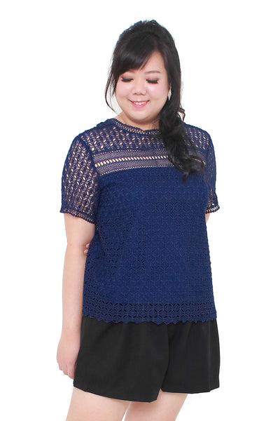 *Exclusive* Iris Crochet Lace Top (Navy Blue)