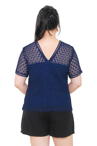 *Exclusive* Iris Crochet Lace Top (Navy Blue), Top - 1214 Alley