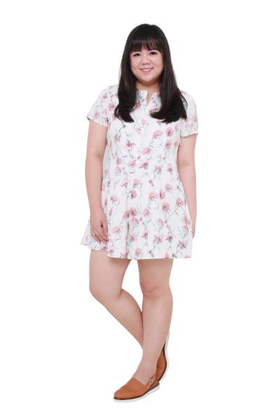 *Exclusive* Front Zip Floral Romper (White), Dress - 1214 Alley