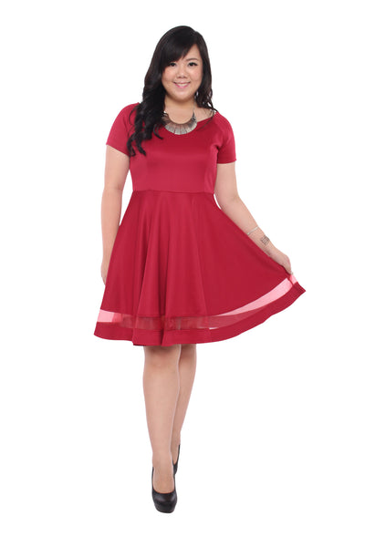 Cora Boat-Neck Dress (Ruby Red), Dress, 1214 Alley