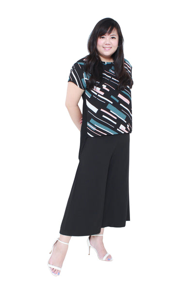 *Exclusive* Side Pleated Flare Culottes (Black), Bottoms - 1214 Alley