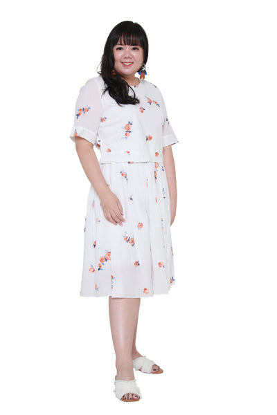 *Exclusive* Faux Dual Layer Midi Dress (Embroidery)