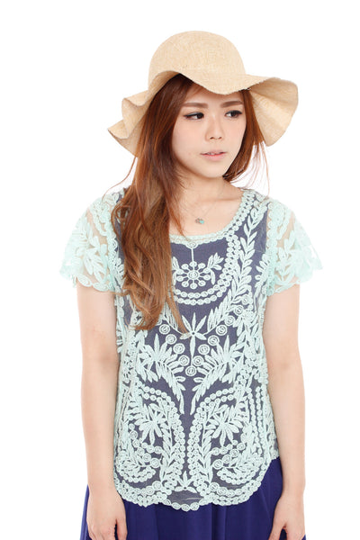 Annca Lace Top (Summer Mint), Top, 1214 Alley