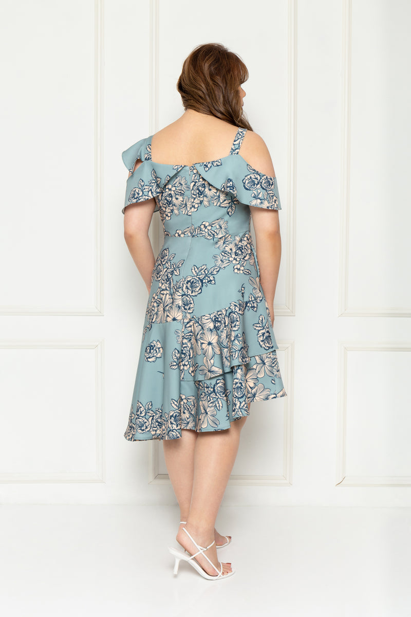 Toga Cold-Shoulder Frills Dress (édition limitée print - Blooms), Dress - 1214 Alley
