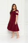 Toga Cold-Shoulder Frills Dress (Red), Dress - 1214 Alley