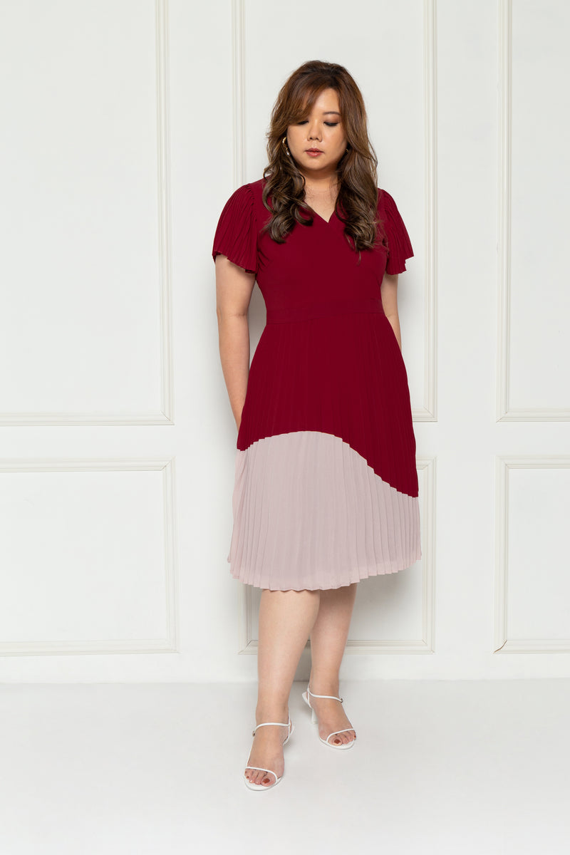 Pleated Colour Block Dress (Maroon), Dress - 1214 Alley